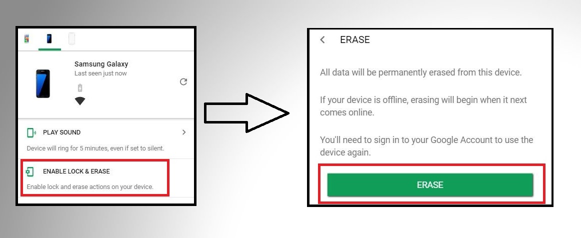 Reset Samsung Galaxy Remotly